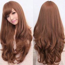 Long 70cm Synthetic Hair Wig ladies Black Brown With Bangs