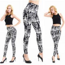 Sexy Black White Leggings pants Serpentine Printing Pattern