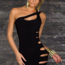 Sexy Black one Shoulder Nightclub Bandage Mini Dress Clubwear