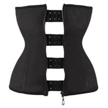 Waist Training Underbust Corset Rubber With Zipper Black