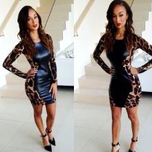 Leopard Print PU Leather Long Sleeve O Neck Club Sexy Dress