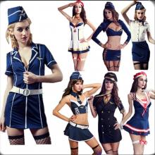 Sexy air stewardess hostess navy costumes sailor uniform dress suit