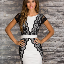 Solid Slim Sleeveless Lace O-Neck Dress for shemale crossdresser