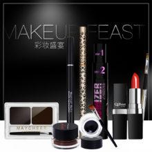 7 Pcs Makeup Set Kit Pencil Powder Lipstick Brush Pencil