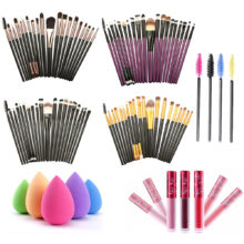 20pcs Makeup Set Brushes Puff Mascara Lip Gloss Brush