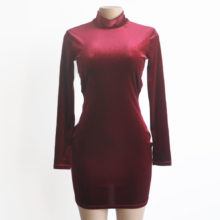 Backless Long Sleeve Turtleneck Velvet Dress Sexy mini Dress