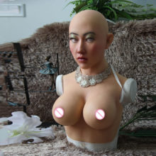 Realistic Silicone Woman Face Breast Form Mask Suit