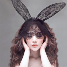 Black Lace Rabbit Eye Mask