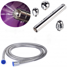 3 Heads Aluminum Shower Anal Vagina Douche Cleaning System 1.5M/59″ Hose
