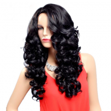 Long Black Wavy Synthetic Wig