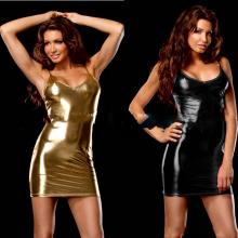 Sexy Gold Sleeveless PU Leather Club wear Dress