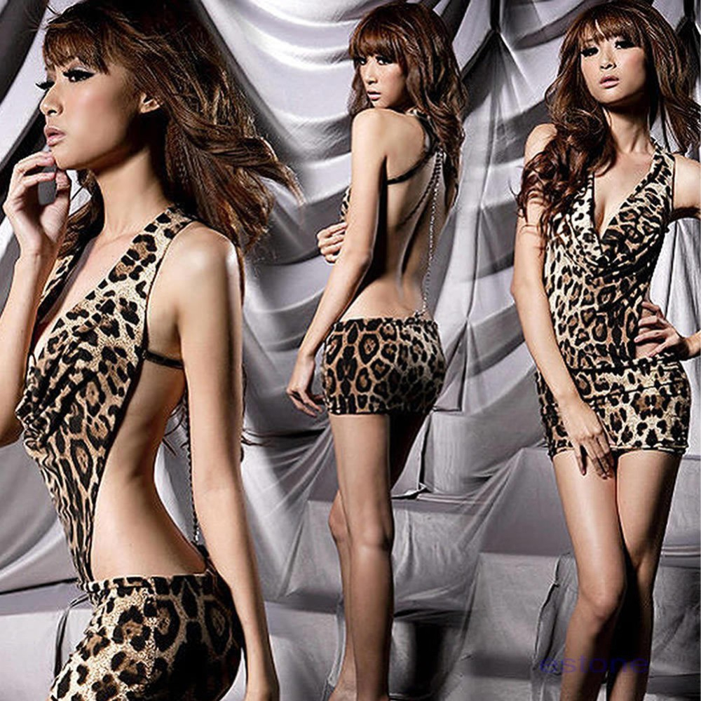 Sexy Leopard Teddies Backless Jumpsuits Lingerie