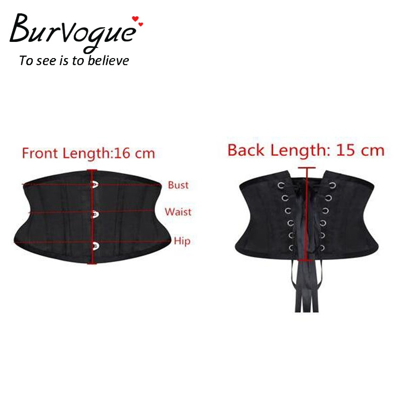 Burvogue Women Corset Underbust 26 Steel Boned Satin Corsets and Bustiers Plus Size Waist Trainer Control Belt for Weight Loss