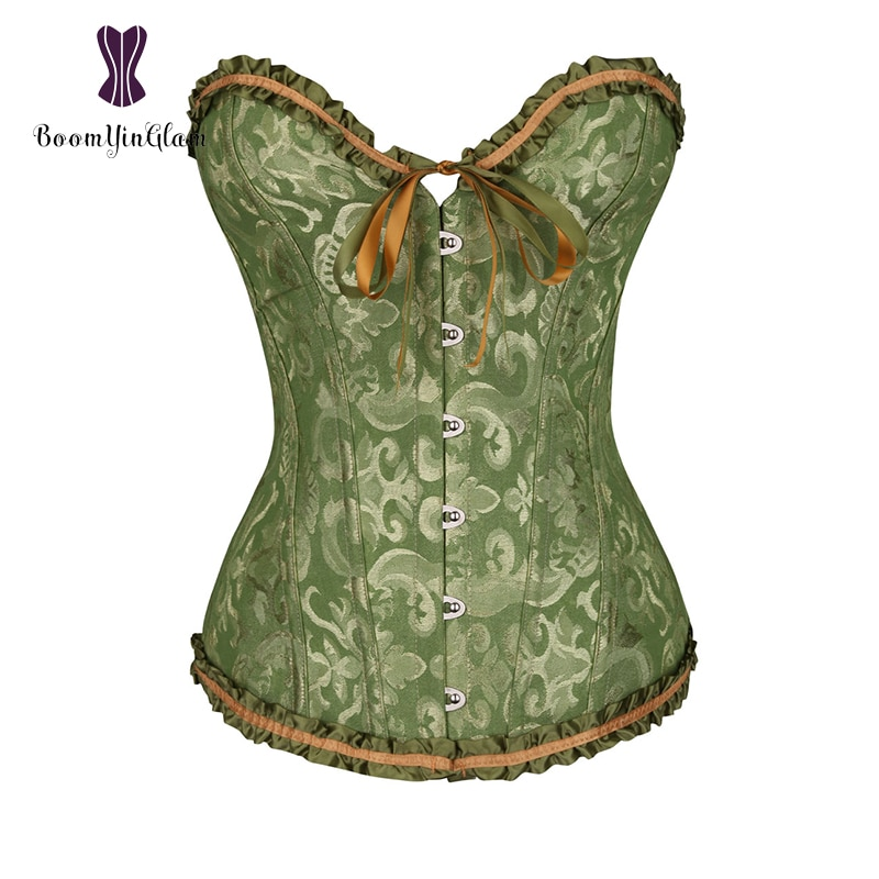 Free shipment fashion design 8 colors plus size pleated corselet women bustier overbust victorian Lace up boned corset 810#