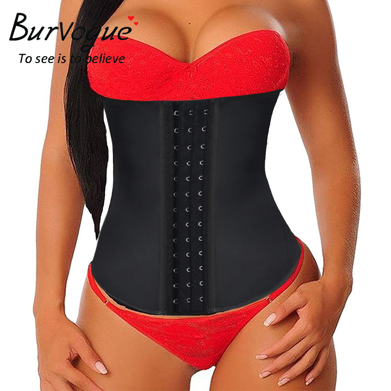 Burvogue Latex Waist Trainer Corsets and Bustiers Cincher Steel Bone Underbust Shaper Slimming Control Sexy Corset Plus Size