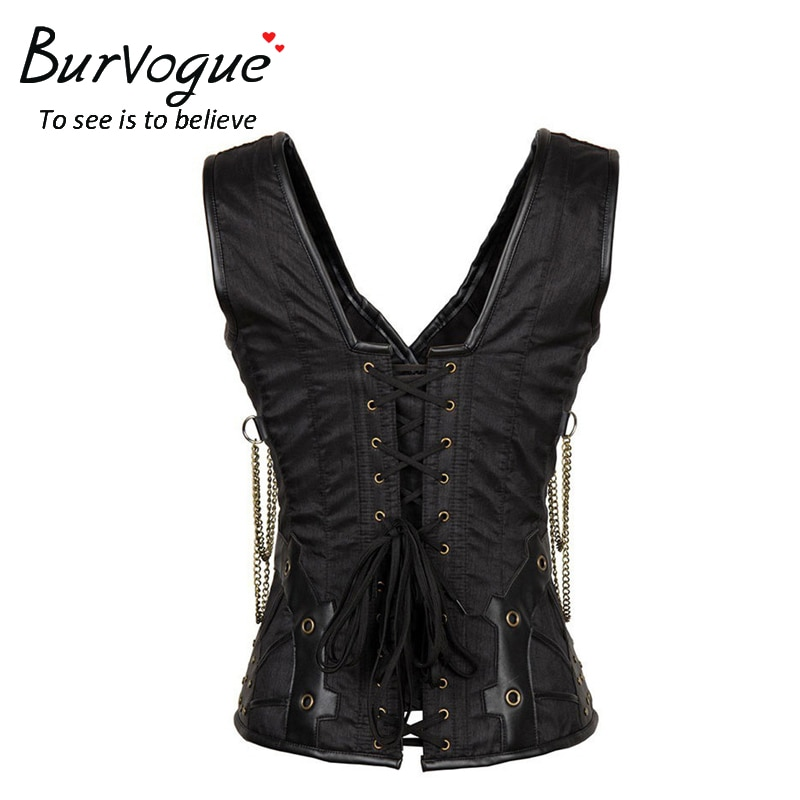 Burvogue Steampunk Corset Women Gothic Steampunk Steel Boned Waist Cincher Corset Vest Top Waist Control Leather Corset Sexy New