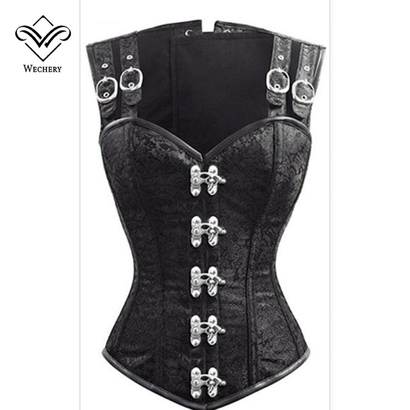 Corset Steampunk Corsets and Bustiers Slimming Gothic Corsage Corselet Corsets Sexy Black Strap Corset Steel Boning Bustier