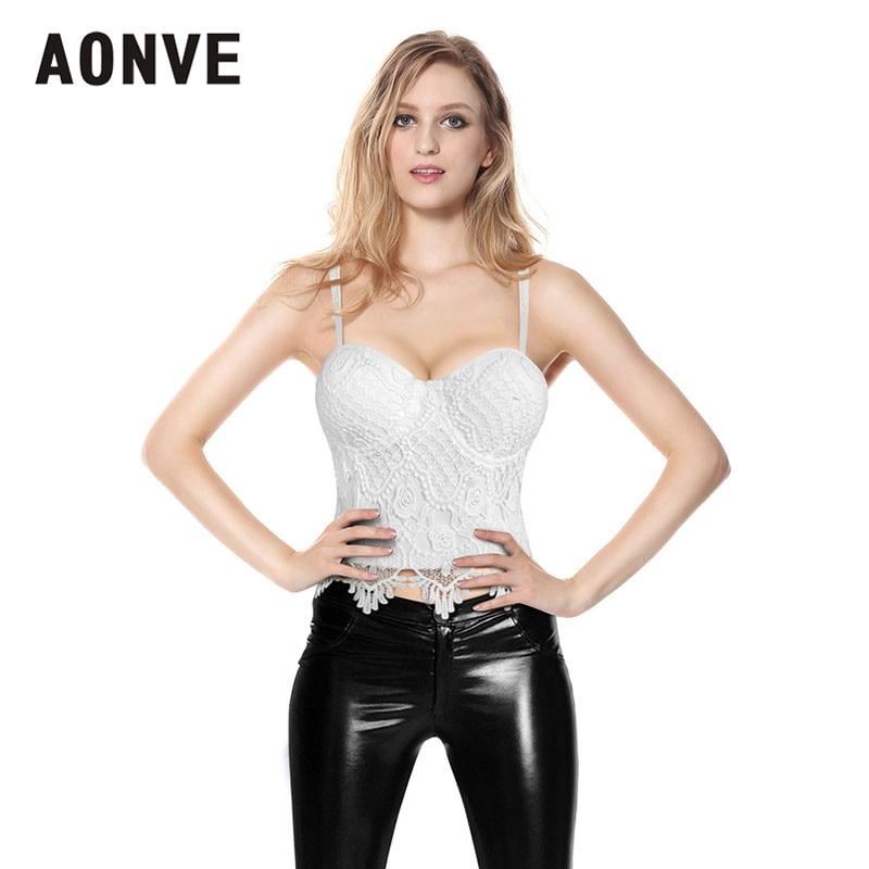 AONVE Women Steampunk Corset Bra Tops White Black Lace Bralette Push up Bras for Women Waist Trainer Slimming Underwear Bra Top