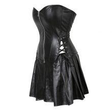 plus size s6xl black zipper pu leather corset bustier