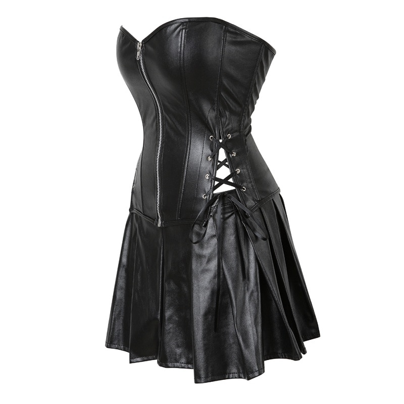 Plus Size S-6XL Black Zipper PU Leather Corset Bustier Dress set Overbust Sexy Lingerie Women Lace Up Corselet Tops Skirt Thong