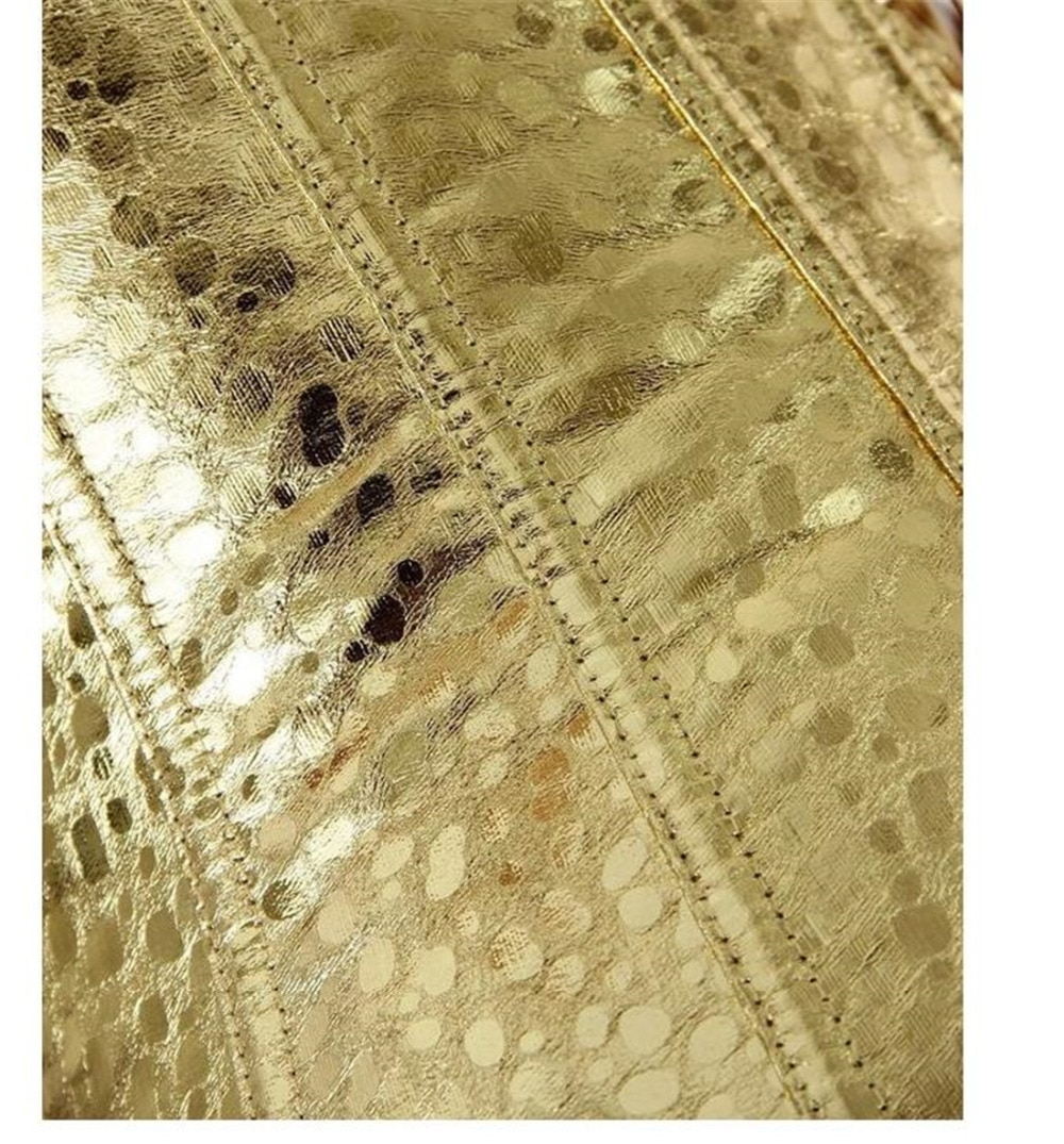 Faux Leather Overbust Corset gold/sliver Showgirl Clubwear Burlesque zipper Costume Lace up Boned Carnival Top Shirt S-2XL