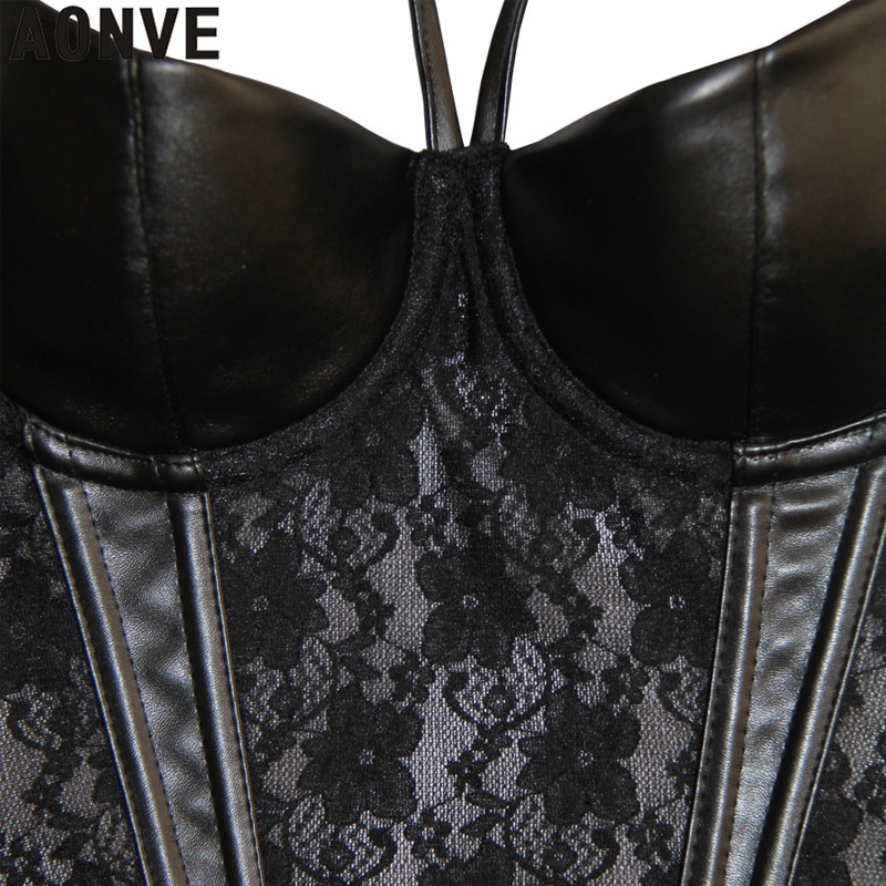 Corset Sexy Steampunk Bustier Gothic Leather Black Lace Lingerie Floral Waist Cincher Steel Boned Body Shaper Corsete Overbust
