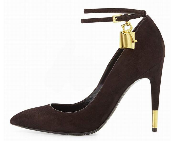 Women Pumps Sexy Pointed Toe Ankle Lock High Heels Party Shoes Celebirty Style Buckle Strap Women Shoes