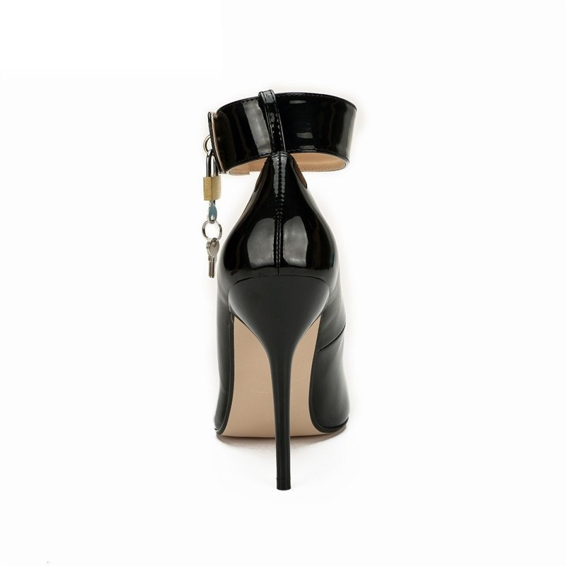 Stiletto Fetish 12cm thin heels Red dress Ankle strap shoes Pantent Leather Pointed Toe Cosplay Lock And Key Padlocks pumps