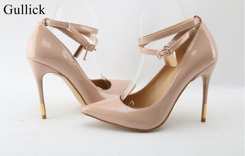 Gullick Sexy Pointed Toe Lock High Heel Pumps Black Leather Ankle Strap Buckle Dress Shoes Women Gold Metal Heels Party Shoes