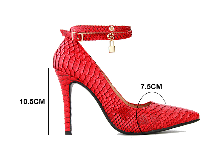 Womens Pointy Toe Buckle Pump Shoes Stiletto High Heel Snake Pattern Shoes Sexy Red With Lock F21