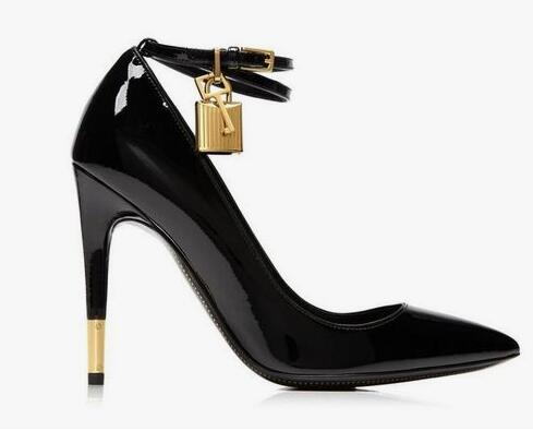 Womens Pointed Toe Lock Pumps Women Shoes Black Nude Patent Leather Ankle Wrap Metal Heels Laides Dress Shoes Real Photo