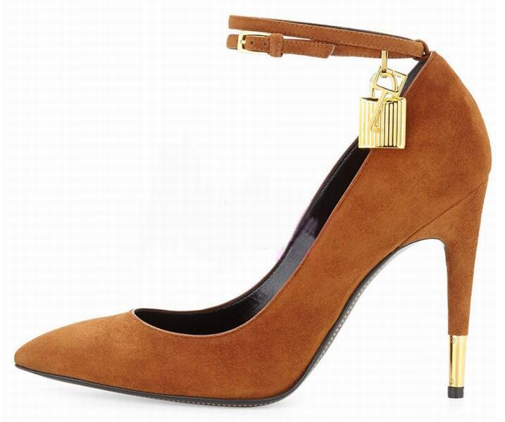 2017 Rosy Brown Suede Women Pumps Sexy Pointed Toe Ankle-Lock High Heels Party Shoes Celebirty Style Buckle Strap Women Shoes