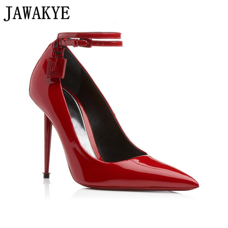 2019 New Classic Black Patent Leather Women Pumps Sexy Pointed Toe Thin High Heels Shoes Lock Key Buckle Strap Party Shoes Woman