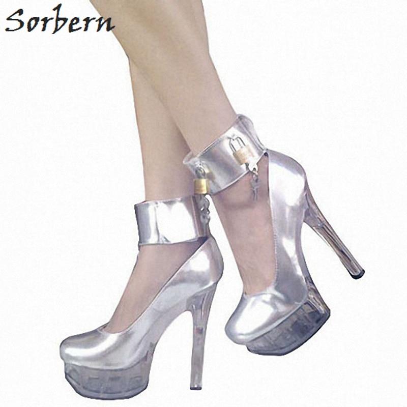 Sorbern Sexy Silver Women Pumps Spike Heels Ankle Strap Heels Size 11 Womens Shoes Lock Keys Comfortable Heels Footwear