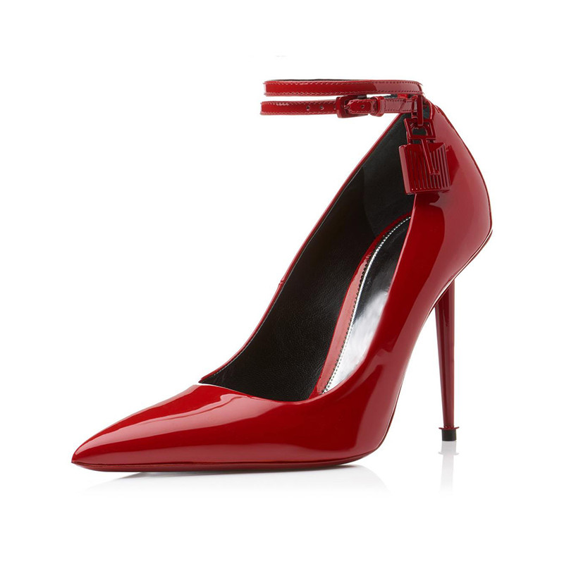 Luchfive Lock Key Patent Cow Leather Pumps Women Sexy 12 cm High Heel Pointed Toe Stilettos Buckle Wedding Party Shoes Black Red