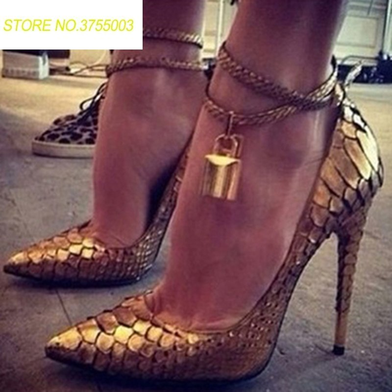 Sexy Ladies Metallic Lock Decor Ankle Coiled Strap Bling Gold Snakeskin Dress Pumps Stiletto High Heels Pointed toe Women Shoes