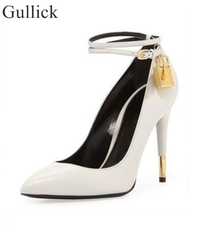 Gullick Suede Metal Lock High Heel Pumps Ankle Wrap Stiletto High Heels Women Dress Shoes Pointed Toe Metallic Wedding Shoes