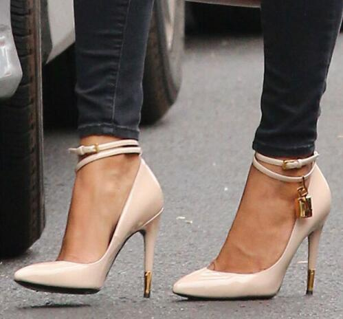 Gold Lock Pointy Stiletto Sexy Fashion Pumps Designer Shoes Women Luxury Thin High Heel Shoes Multi-Colors Pump Women Shoes