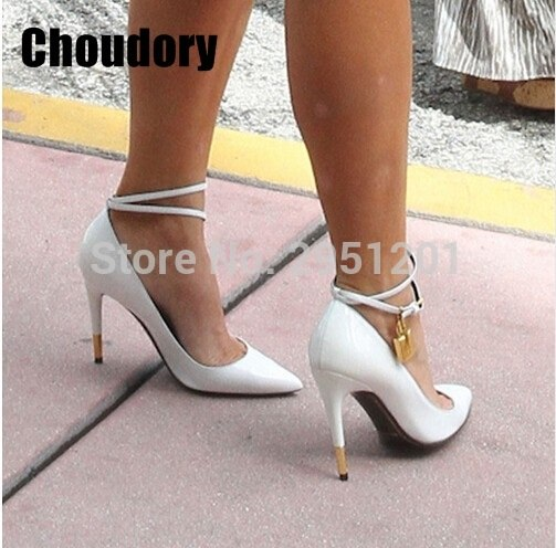 2019 Hot sale Summer Luxury brand Golden Lock Ankle Strappy Buckle Sexy Women Pumps High Heels Wedding Party Shoes Woman Sandals