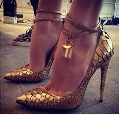 Gold Lock Metal Buckles High Heel Pumps For Women Sexy High Stiletto Heels Pointed Toe Cone Heels Dress Shoes Fashion Lady Pumps
