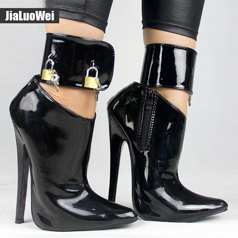2017 Arrive Woman Fashion Sexy High Heel Pumps Dance/Party Shoes Ankle Strap Women Leather Lock Stiletto Thin High Heels shoes