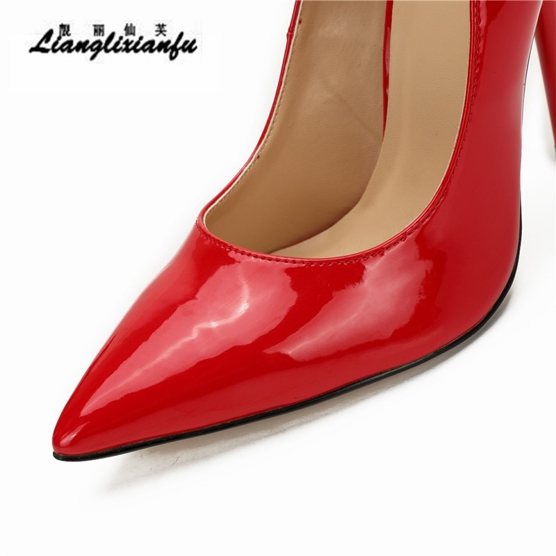 LLXF Stiletto Fetish 12cm thin heels Red dress Ankle strap shoes Pantent Leather Pointed Toe Cosplay Lock And Key Padlocks pumps