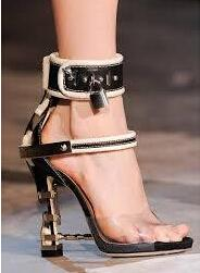 Sexy Metal Lock Gladiator Sandals Women Shoes PVC Leather Ladies Rhinestone High Heels Sandals 2017 Women Summer Shoes Platform
