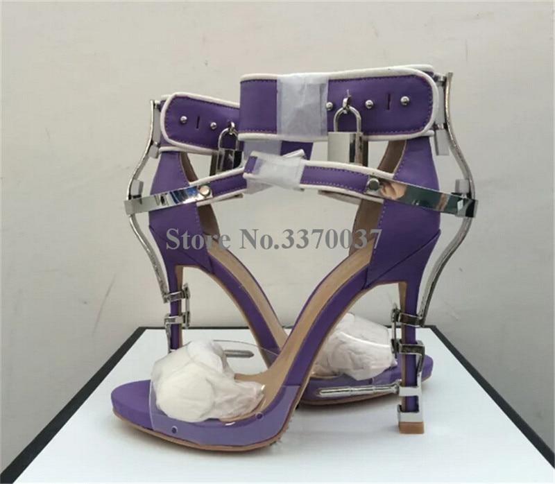 Ladies New Fashion Open Toe PVC Rhinestone Metal Lock Platform Sandals Ankle Wrap Crystal Nail Heel Sandals Evening Club Shoes