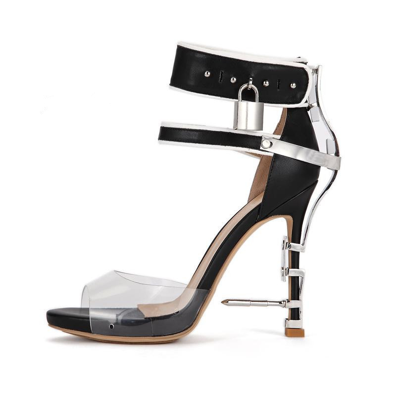 Unique PVC Transparent Colorful Crystal Summer Shoes Woman Cover Heel Ankle Strappy Locked Sandals Women