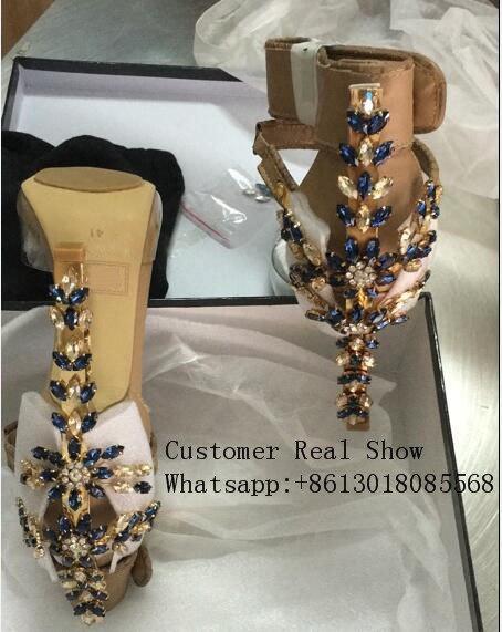 2017 Design PVC Gladiator Sandal Women Transparent Rhinestone Diamond Jeweled High Heel Shoe Woman Ankle-strap Metal Lock Sandal