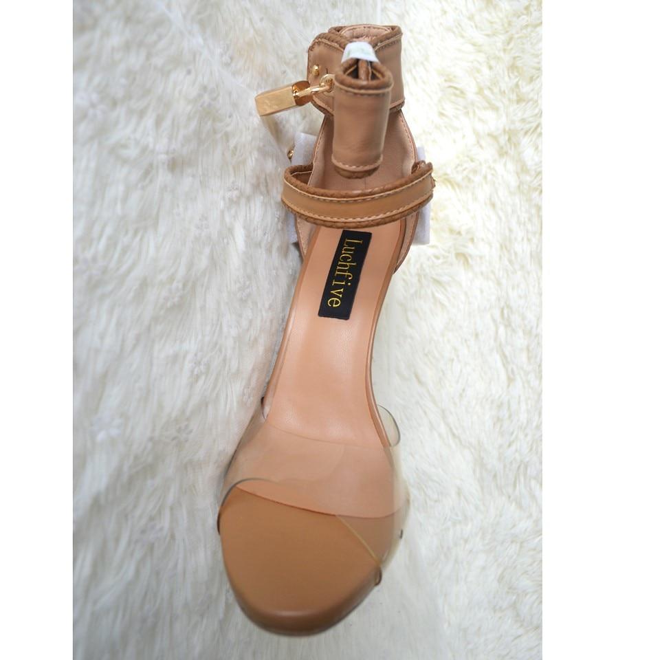 Luchfive Ankle Wrap Rhinestone High Heels Women Sandals Abnormal Jeweled Heels Party Shoes Locked PVC Gladiator Sandalias Mujer