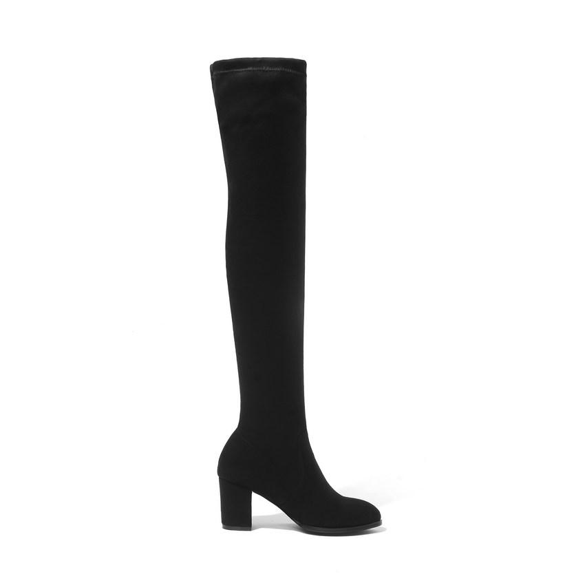 QUTAA 2019 Women Over The Knee High Boots Square High Heel Women Shoes Platform Winter All Match Sexy Women Boots Size 34-43