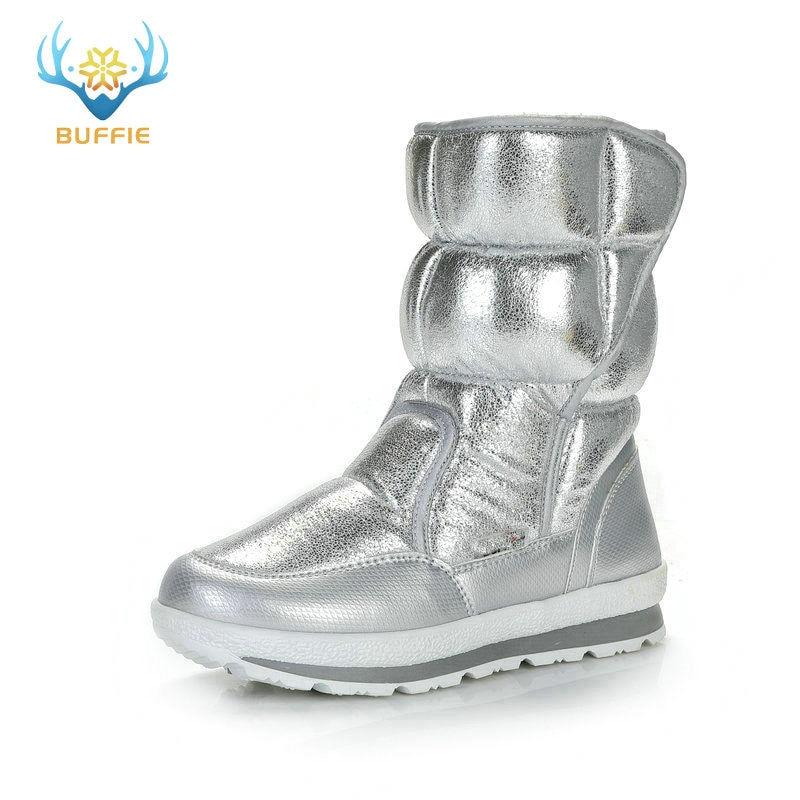 Silver Winter Boots Buffie Brand Quality Women Snow Boots fake fur insole Lady Warm Shoes Girl fashion free shipping nice lookin