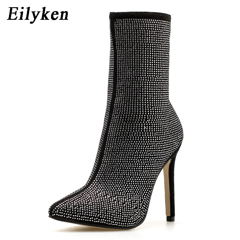 Eilyken Women  Ankle Boots Plus Size 35-42 Rhinestones High Heels Shoes Woman Zip Pointed Toe Sexy Motorcycle Boots For Females